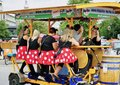 Group of Ladies party on a beer bicycle built for 8