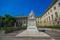 BERLIN, GERMANY - JUNE 06, 2015: Alexander Von Humboldt statue outside of Humboldt University in Berlin. Gift from Royalty Free Stock Photo