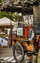 Historic mobile coffee shop on a bicycle on the edge of a street festival in Berlin, Kreuzberg