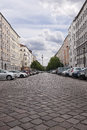 Berlin germany june th diminishing perspective view of the blocks of buildings that stretch along strelitzer strasse with a large Stock Photo