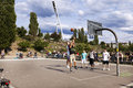 Berlin germany june th early summer sunday afternoon at mauerpark a group of people are playing basketball surrounded by Stock Image