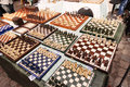 Berlin germany june th high angle view large amount homemade chess boards displayed sale table mauerpark sunday flea market Royalty Free Stock Image