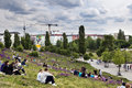 Berlin germany june th spring sunday afternoon at mauer park in east berlin the pat andlawn are full with groups of mainly young Royalty Free Stock Photo