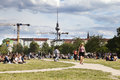 Berlin germany june th spring sunday afternoon at mauerpark in east berlin the path and lawn are full with groups of mainly young Royalty Free Stock Photo