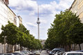 Berlin germany june th view of the blocks of buildings that stretch along strelitzer strasse with a large amount of cars parking Royalty Free Stock Photo
