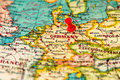 Berlin, Germany pinned on vintage map of Europe Royalty Free Stock Photo