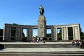 Berlin, Germany. The sculpture of russian soldier with columns