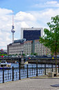 Berlin germany the television tower capital city of view from government district by banks of spree river to old gdr Stock Images