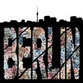 Berlin grunge text with skyline Royalty Free Stock Images