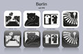 Berlin icons landmarks of set of monochrome editable vector illustration Stock Photos