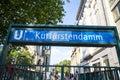 Berlin kurfuerstendamm ubahn sign Royalty Free Stock Photo