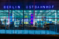 Berlin ostbahnhof berlin east railway station october in the night illumination is a mainline Stock Images