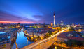 Berlin Skyline City Panorama with blue sky sunset and traffic - famous landmark in Berlin, Germany, Europe Royalty Free Stock Photo