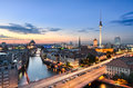 Berlin skyline panorama during sunset germany Stock Image