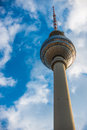 Berlin tv tower in front of a blue sky Stock Photos