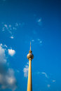 Berlin tv tower in front of a blue sky Royalty Free Stock Images