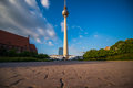 Berlin tv tower in front of a blue sky Stock Image