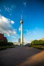 Berlin tv tower in front of a blue sky Royalty Free Stock Photography