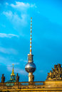 Berlin tv tower in front of a blue sky Stock Photography