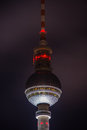 Berlin tv tower at night Royalty Free Stock Photography