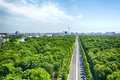 Berlin and the under den linden boulevard eastern part of city of unter photographed from top of famous victory column Stock Photography