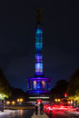 Berlin victory column in the original illumination germany october annual festival of lights Royalty Free Stock Photo