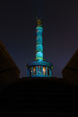 Berlin victory column in the original illumination germany october annual festival of lights Royalty Free Stock Photos