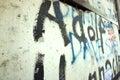 Berlin wall - graffiti and bullet holes Royalty Free Stock Photo
