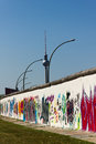 Berlin Wall with graffiti and television tower Stock Photo