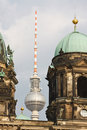 Berliner Dom (Cathedral) and Fernsehturm Berlin Stock Photo