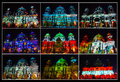 Berliner dom collage of during festival of lights Stock Photos