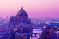 Berliner dom in purple sunset light Royalty Free Stock Photography