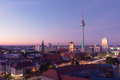 Berliner fernsehturm sun sets over and alexanderplatz Royalty Free Stock Photo