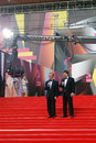 Berman and zhindarev at moscow film festival tv hosts boris ildar make a reportage xxxv international red carpet opening ceremony Stock Images