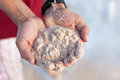 Bermuda pink sands close up sand in the hands of a young man shallow depth of field Stock Image