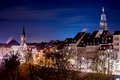 Bern cityscape evening with houses at aare sore Stock Photography