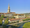 The Bern Minster and river side old city (Berner Münster) from Bern. Switzerland Royalty Free Stock Photo