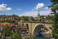 Bern switzerland view of old town and bridge over the aare river Stock Photos