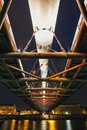 Bernatka footbridge over Vistula river in the night Royalty Free Stock Photo