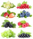 Berries collection strawberries blueberries grapes berry fruits fruit isolated on white Royalty Free Stock Photo