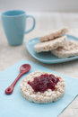 Berries jam on the rice cake Stock Image