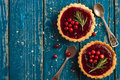 Berries jam tarts decorated with cranberry and rosemary Royalty Free Stock Photo