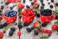stock image of  Berries from own garden - blueberries, currants, blackberries