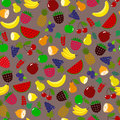 Berries pattern fruit pattern seamless vector orange lemon watermelon ananas and other fruits on brown background for fabric paper Royalty Free Stock Photos