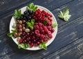 Berries - raspberries, gooseberries, red currants, cherries, black currants on a white plate Royalty Free Stock Photo