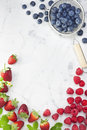 Berries Raspberries Strawberries Blueberries Background Royalty Free Stock Photo