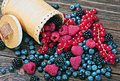Berries are scattered on the table