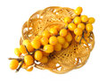 Berries sea buckthorn hippophae rhamnoides medical on crib Royalty Free Stock Photo