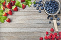 Berries Strawberries Blueberries Raspberries Background Royalty Free Stock Photo