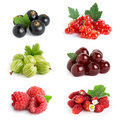 Berries sweet on white background raspberry blackcurrant gooseberry cherry strawberry and redcurrant closeup Stock Photography